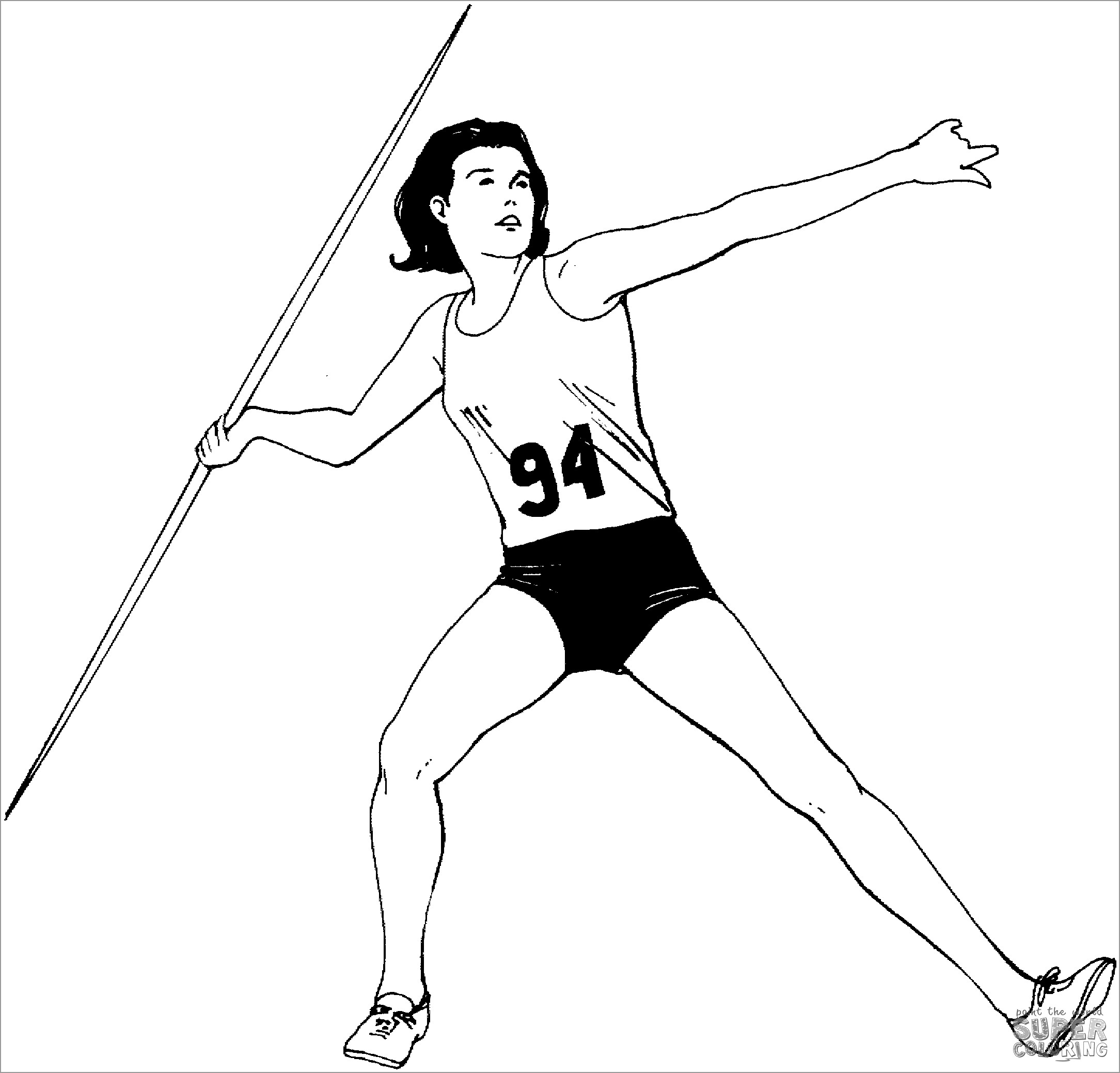 Woman Javelin Throw Coloring Page
