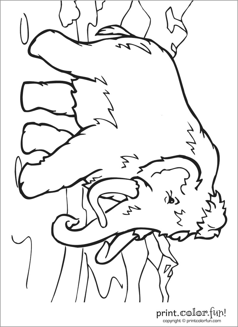 Wooly Mammoth Coloring Page to Print