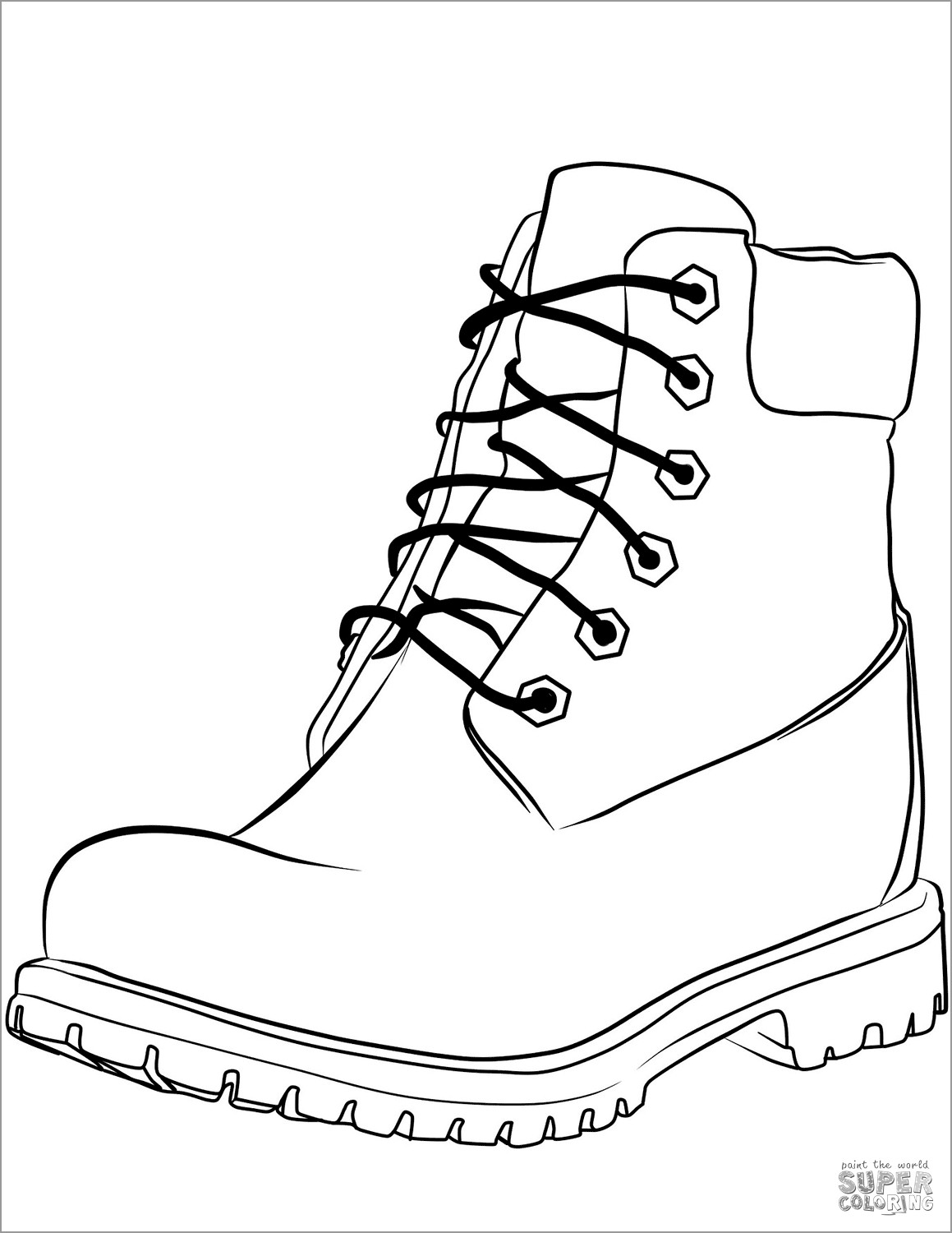 Work Boots Coloring Page
