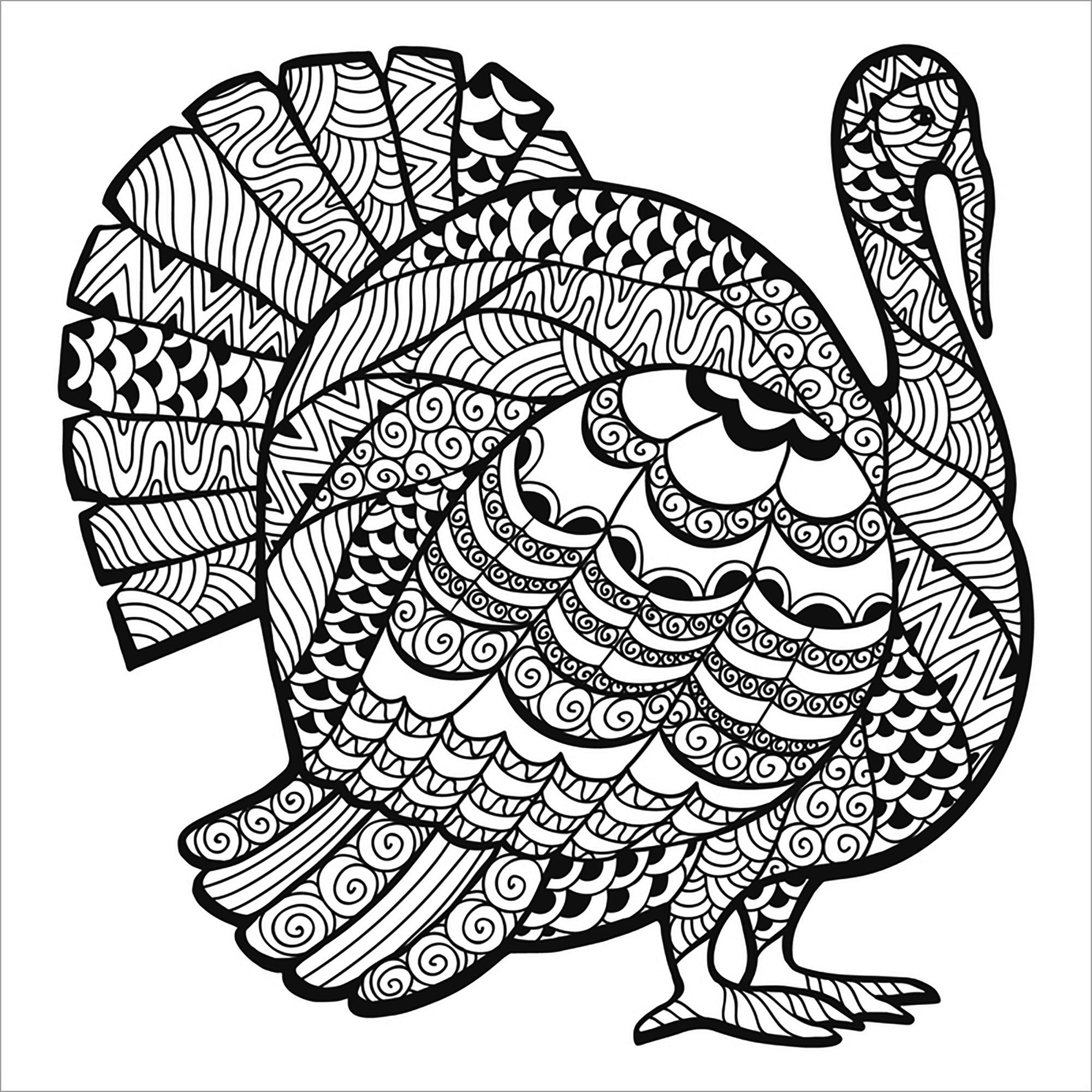 Zentangle Mandala Turkey Coloring Page