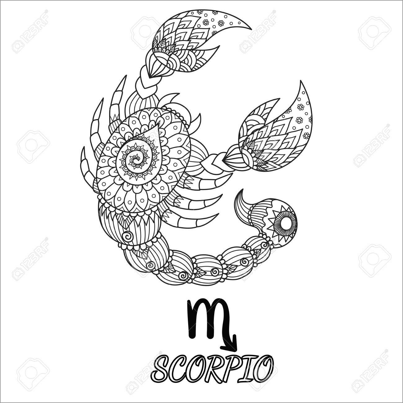 Zentangle Scorpio Adult Coloring Page