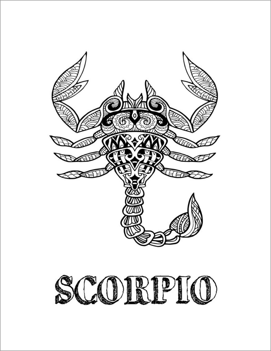 Zentangle Scorpio Coloring Pages for Adult