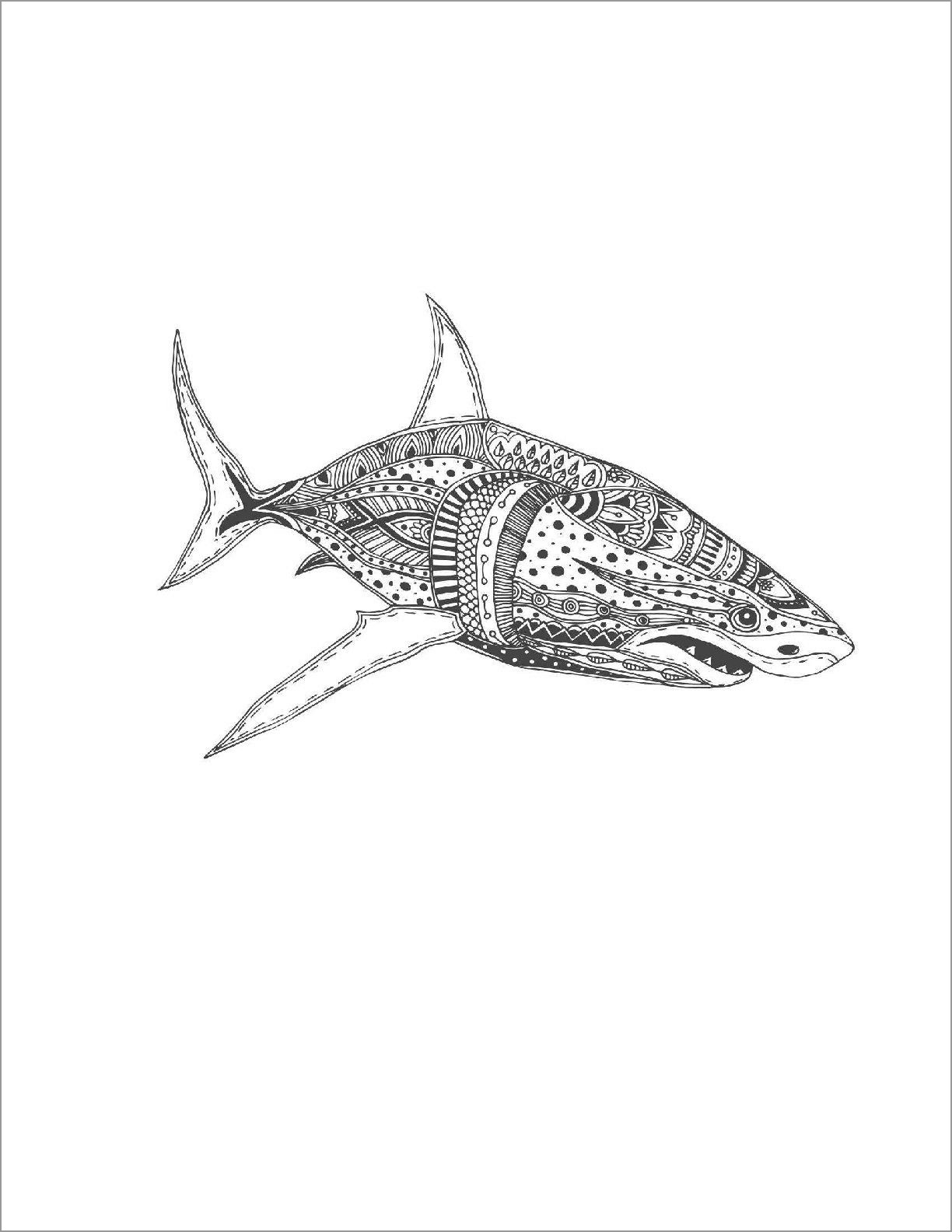 Zentangle Shark Color Page for Adult