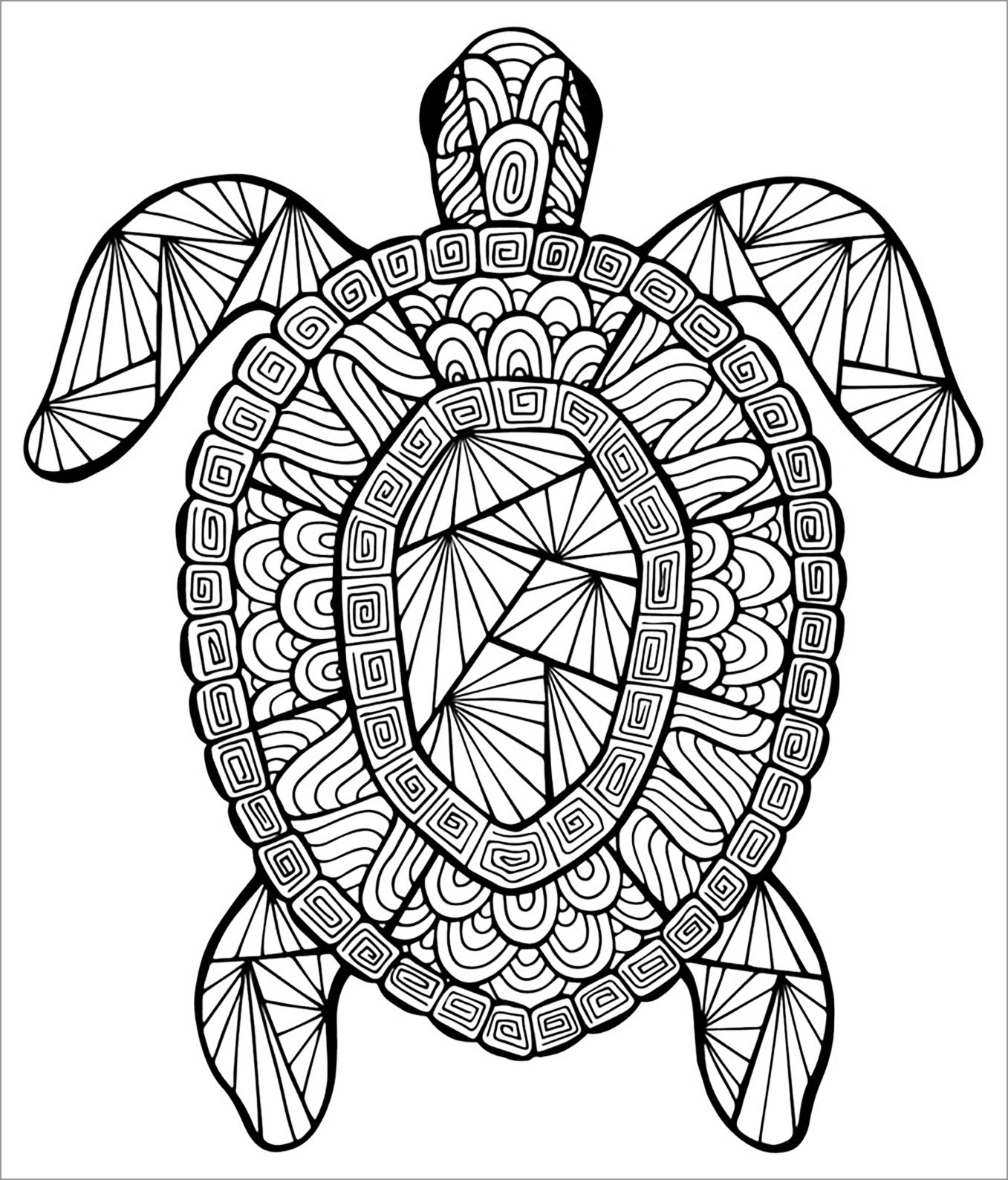 Zentangle Turtles Adult Coloring Pages