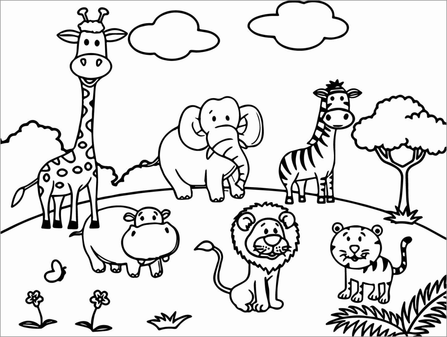Zoo Animals Coloring Page for Kids