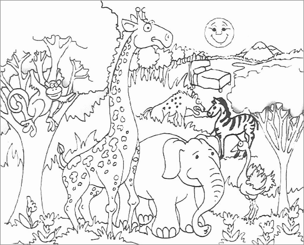 Zoo Animals Coloring Page Free Printable