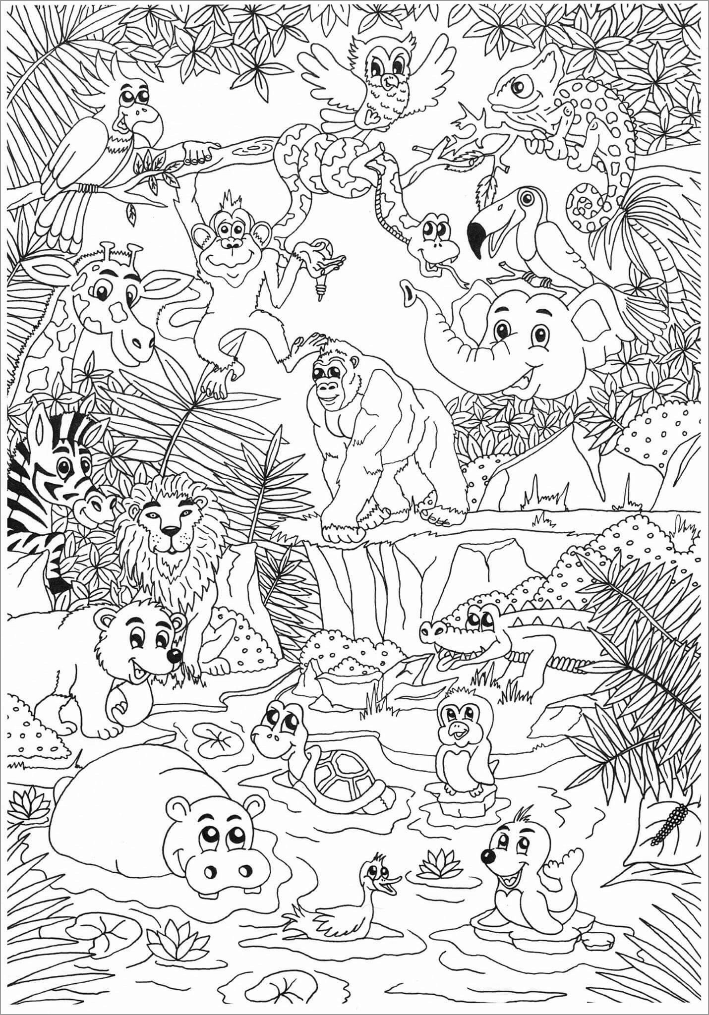 Zoo Coloring Pages for Adult