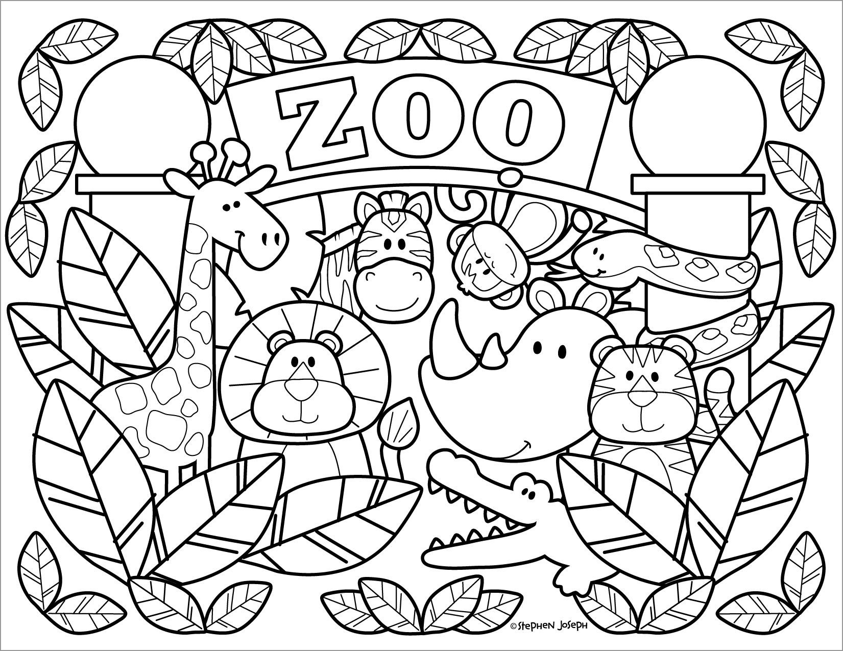 Zoo Coloring Pages Printable by Stephen Joseph